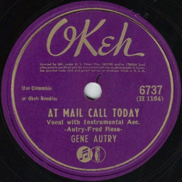 Gene Autry At Mail Call Today / I'll Be Back Cover Art