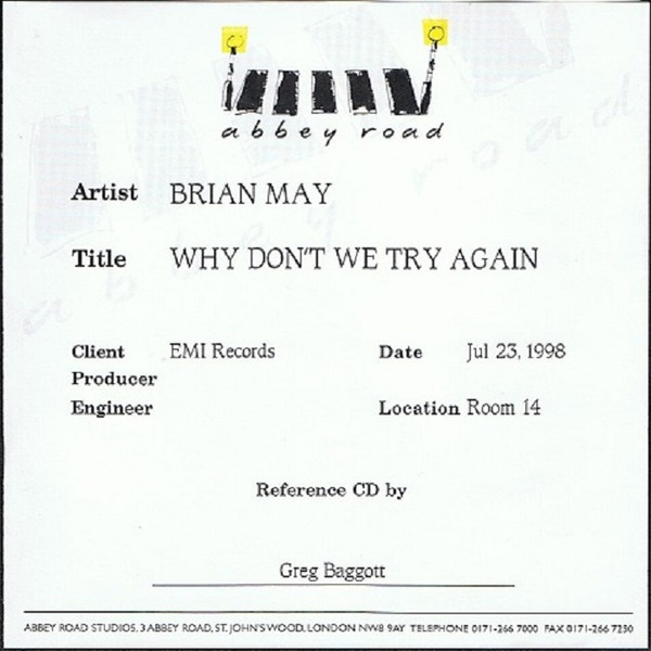 Brian May Why Don't We Try Again Cover Art