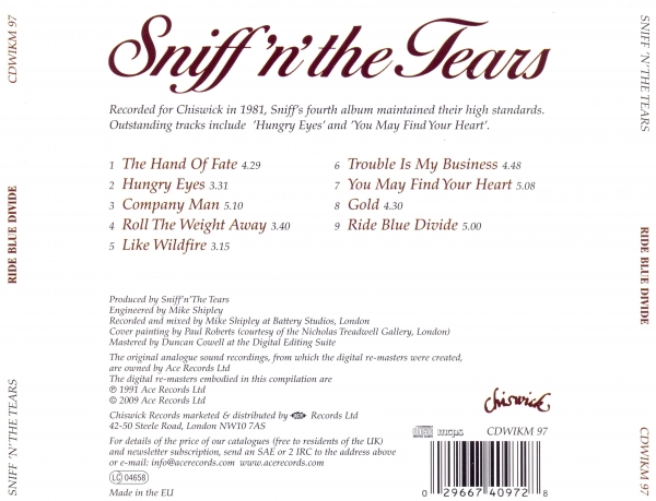 Sniff 'n' the Tears Ride Blue Divide cover art