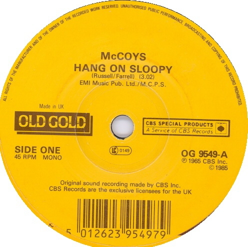 The McCoys Hang On Sloopy / Fever Cover Art