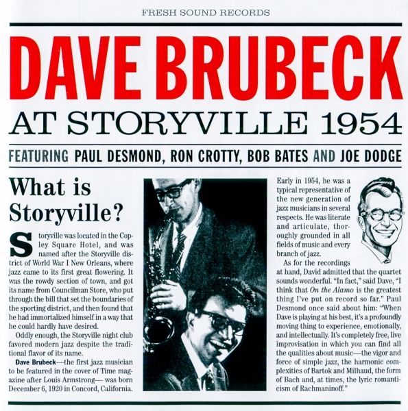 The Dave Brubeck Quartet At Storyville 1954 cover art