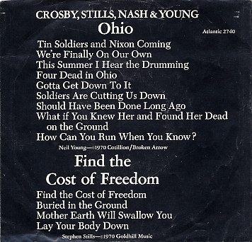 Crosby, Stills, Nash & Young Ohio / Find the Cost of Freedom Cover Art