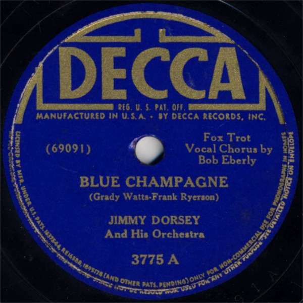Jimmy Dorsey and His Orchestra Blue Champagne / All Alone and Lonely Cover Art