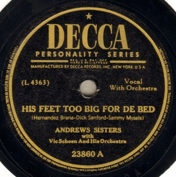 Andrews Sisters His Feet Too Big for de Bed / Jack Jack Jack Cover Art
