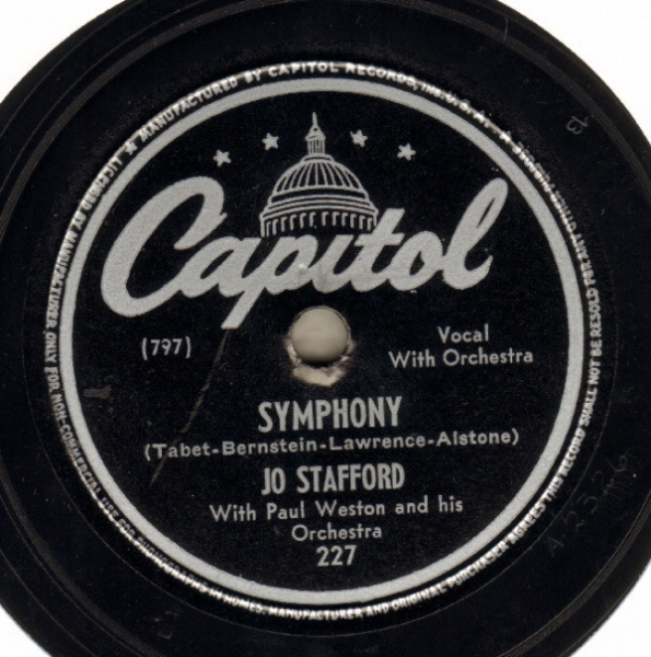 Jo Stafford with Paul Weston and his Orchestra Symphony / Day by Day Cover Art