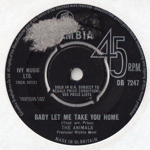 The Animals Baby Let Me Take You Home / Gonna Send You Back to Walker Cover Art