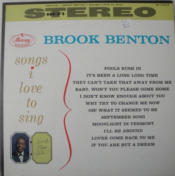 Brook Benton Songs I Love to Sing Cover Art
