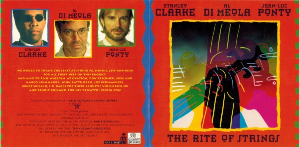 Stanley Clarke, Al Di Meola & Jean-Luc Ponty The Rite of Strings Cover Art